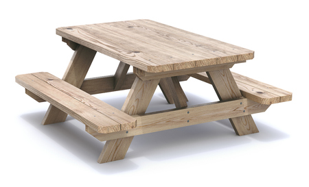 picnic table: Wooden picnic table