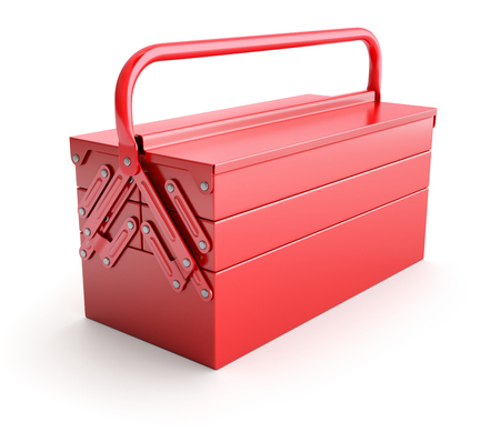 Red cantilever tool box Stock Photo
