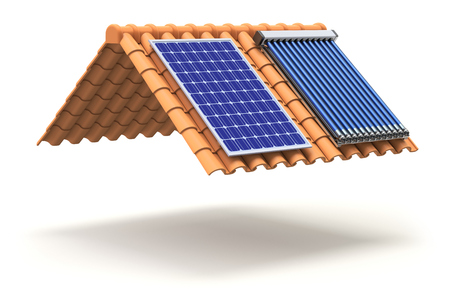 solar roof: Solar panel and solar heater on the roof