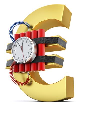 crisis economica: bomba de tiempo en el s�mbolo del euro - concepto de crisis econ�mica