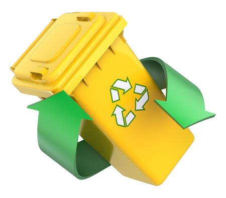 green arrows: Recycling concept with recycle bin and green arrows - 3D illustration