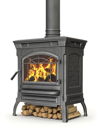 estufa: Estufa de leña con llama de fuego sobre fondo blanco - ilustración 3D Foto de archivo