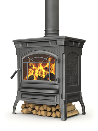 stove: Wood burning stove with fire flame on white background - 3D illustration Stock Photo