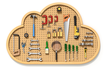 hardware tools: Pegboard in the cloud - 3D cloud computing concept