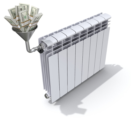 funnel: Energy savings concept with radiator, funnel and money - 3D illustration