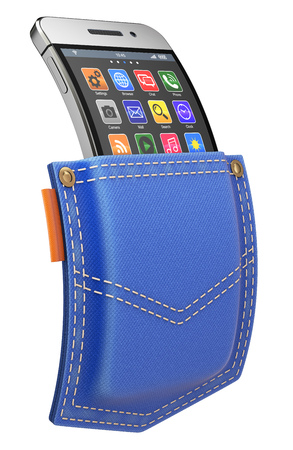 back pocket: Flexible mobile with abstract icon set in blue jeans back pocket - 3D illustration Stock Photo
