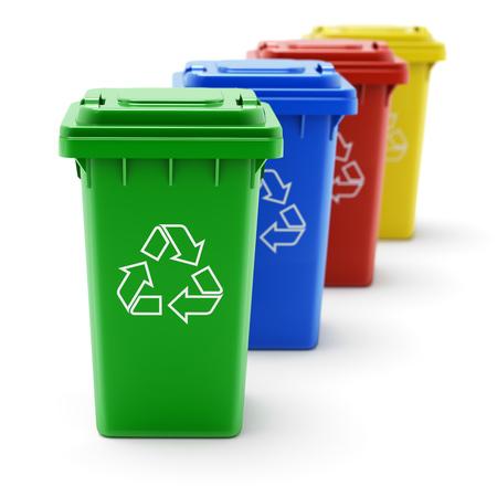 separacion de basura: papeleras de reciclaje verde, azul, rojo y amarillo - ilustración 3D Foto de archivo