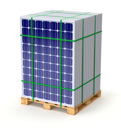 Panele słoneczne na palecie - ilustracja 3D