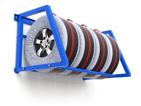carry bag: Spare car tyre cover wheel storage and carry bag cover  - 3D illustration