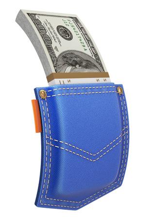 back pocket: Stack of dollars in blue jeans back pocket isolated on white background - 3D illustration Stock Photo