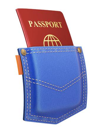 back pocket: Red passport in back pocket of a blue jeans - 3D illustration