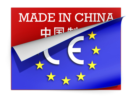 china business: CE marking label over label Made in China - 3D illustration Stock Photo