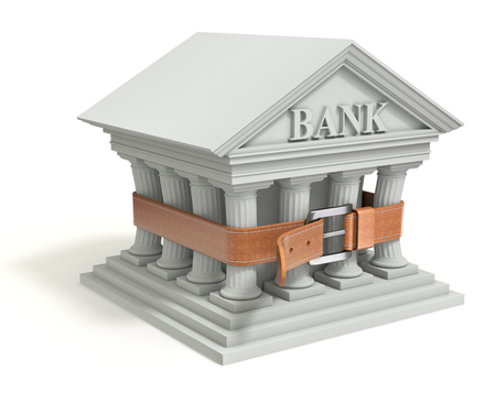 tighten: Bank 3d icon with tighten belt - 3d illustration of banking crisis concept Stock Photo