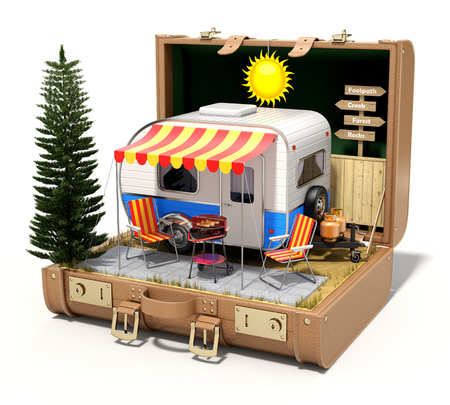camper trailer: RV camper trailer with camping equipment in the case - 3D illustration
