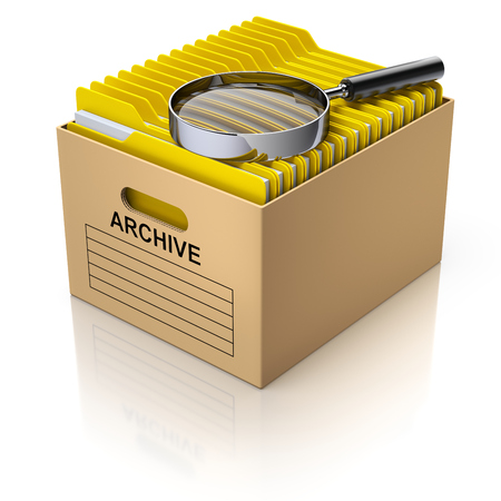 analyzing: Storage box with magnifying glass and yellow folders - 3D illustration Stock Photo