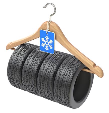 snow tires: Winter car tyre on wooden hanger  - 3D illustration