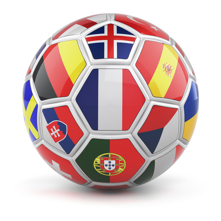 finalist: Soccer ball with flags french flag in the front - 3D illustration