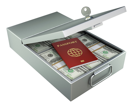 illegally: Open metal bank safety deposit box with money and red passport isolated on white background - 3D illustration