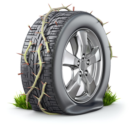 deflated: Flat tire and branch with long thorn - 3D illustration