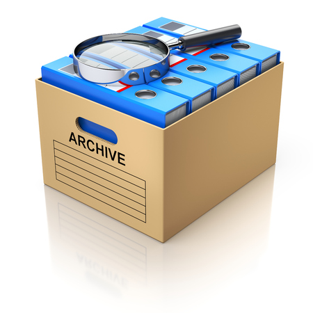 dossier: Storage box with magnifying glass and blue file binders - 3D illustration
