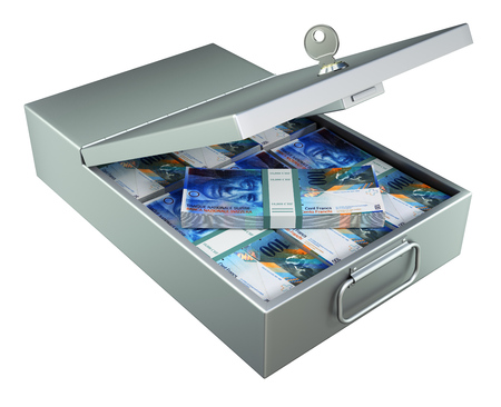 evasion: Open metal bank safety deposit box with swiss francs isolated on white background - 3D illustration Stock Photo