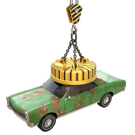 Lifting elektromagneet met oude auto - 3D illustratie Stockfoto
