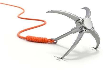 thrown: Grappling hook with orange rope on white background -  3D security concept