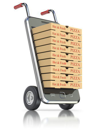 handtruck: Pizza packages in mobile phone - 3D illustration Stock Photo