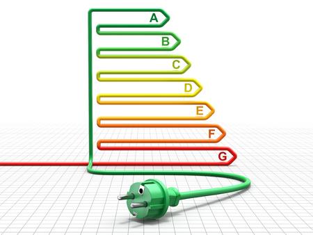 eficiencia: Concepto del rendimiento energético con el cable colorido y enchufe eléctrico