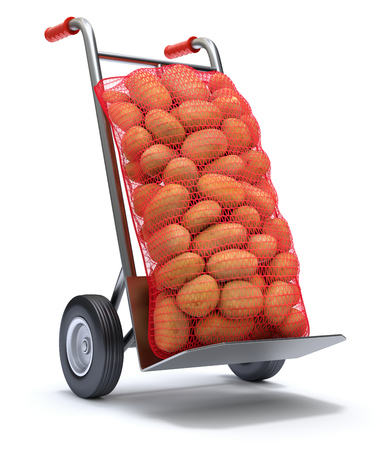 burlap sack: Potatoes in red burlap sacks on the hand truck - 3D illustration Stock Photo
