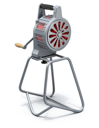 hand crank: Hand crank fire siren - 3D illustration