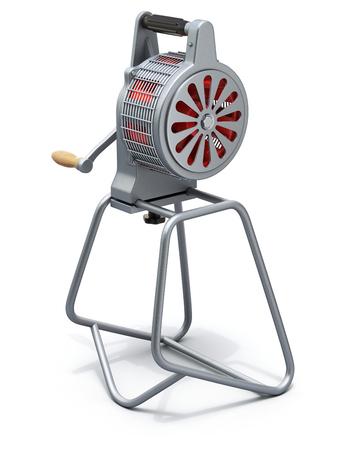 Hand crank fire siren - 3D illustration