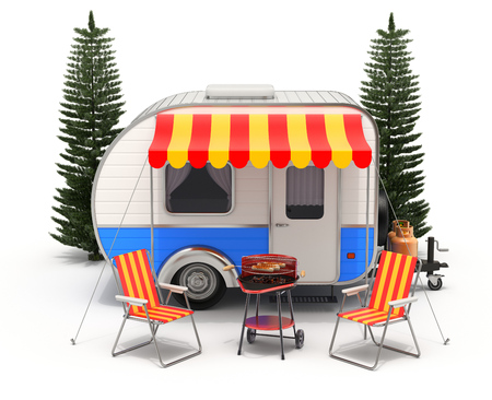 camping: RV camper trailer with camping equipment on white background - 3D illustration Stock Photo