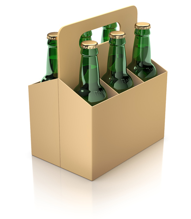6 pack: Six green bottles of beer in carton packaging on white reflective background - 3D illustration