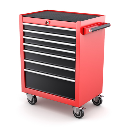 cabinets: Red tool cabinets on white background - 3D illustration Stock Photo