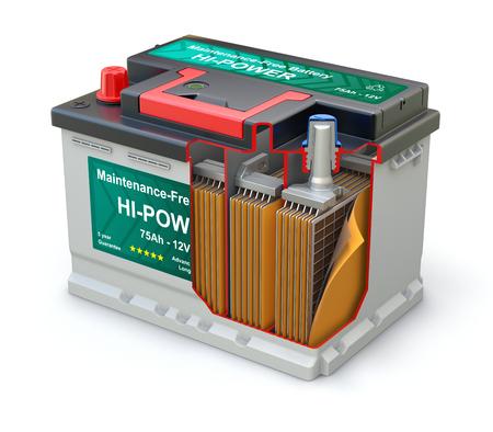 抽象的なラベル - 3 D 図と車のバッテリーの断面図