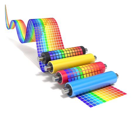 printing inks: CMYK set of printer rollers with wavy color chart - 3D illustration