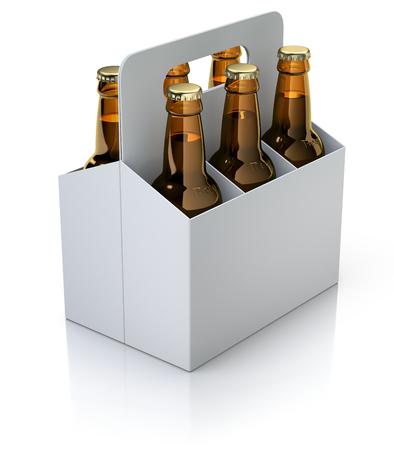 Six bouteilles rouges de bière en emballage carton blanc sur fond blanc réfléchissant - illustration 3D