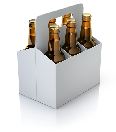 6 pack: Six red bottles of beer in white carton packaging on white reflective background - 3D illustration Stock Photo