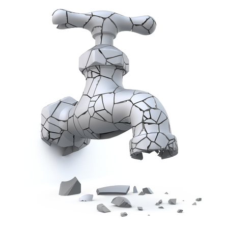 thirsty: Broken cracked faucet (drought and global warming concept) - 3D illustration