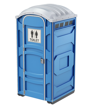 Mobile portable blue plastic toilet used in public places, isolated on white background - 3D illustration