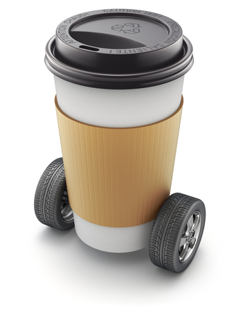 tire cover: Take-out coffee in thermo cup on car wheels - 3D illustration