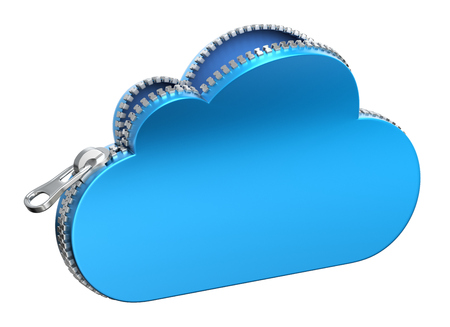 synchronizing: Unzipped 3d cloud icon isolated on white background - 3D illustration