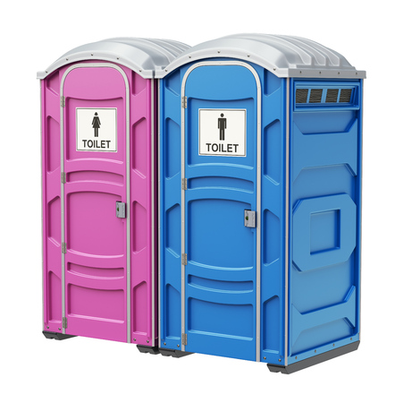 Mobile portable blue plastic toilet for male and female genders, isolated on white background - 3D illustration Stock Photo
