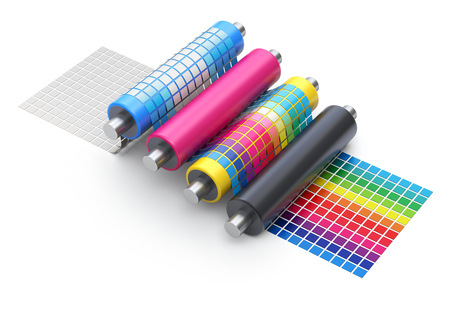 CMYK printing explanation concept with set of printer rollers and color chart - 3D illustration Imagens