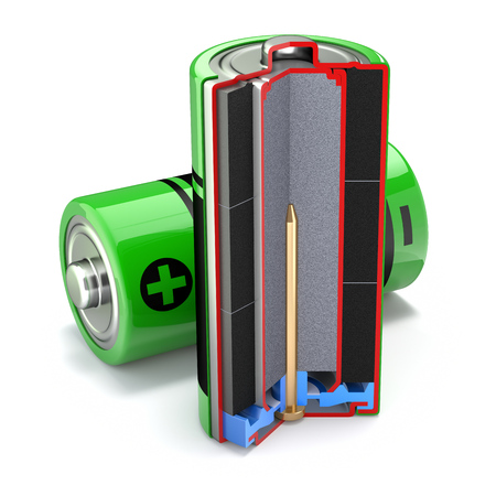 electrolyte: Cross section of alkaline battery - 3D illustration