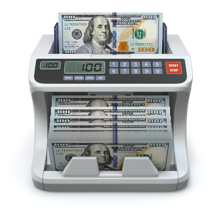 banknote: Electronic money counter with new hundred dollars banknotes - 3D illustration Stock Photo