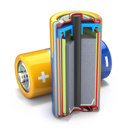 sections: Cross section of dry cell battery - 3D illustration