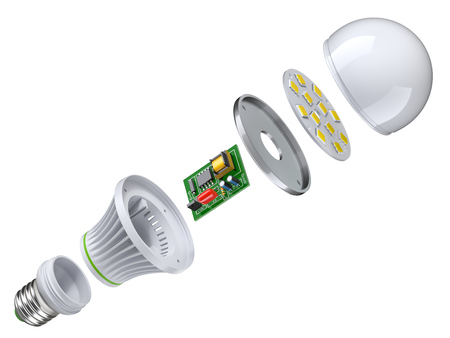 Exploded view of LED bulb isolated on white background