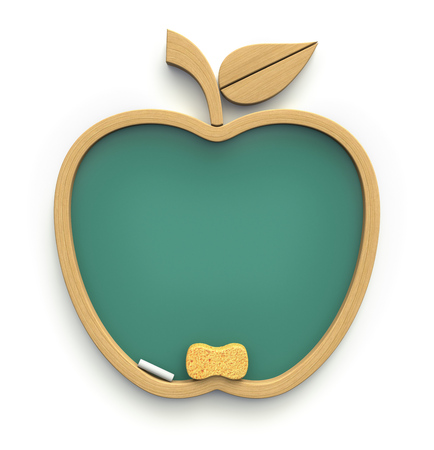 fruit background: Chalkboard made of elements in the shape of apple icon - 3D concept of learning Stock Photo